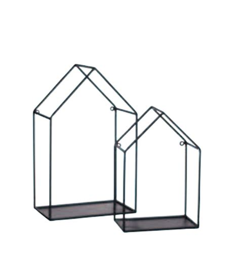set of 2 black metal house wall rack wadiga
