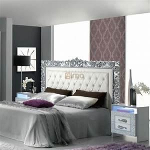 Lit Blanc Adulte : lit capitonne argent maison design ~ Teatrodelosmanantiales.com Idées de Décoration