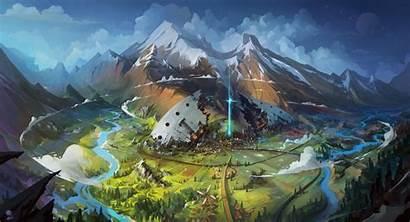 Fantasy Landscape Concept Mountain Snow Illustration Mountains