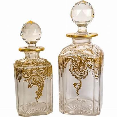 Crystal Baccarat Antique Gold Decanters Liquor Opulent