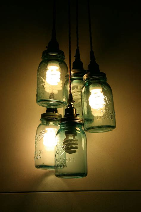 Diy Vintage Mason Jar Chandelier Light Hanging Pendant