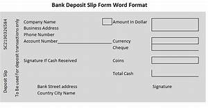 Cash Received Receipt Template Bank Deposit Slip Form Word Format Wordtemplateinn