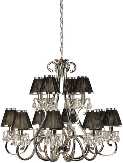 Chandelier With Black Shade And Drops by Oksana Large Nickel 12 Light Chandelier Black