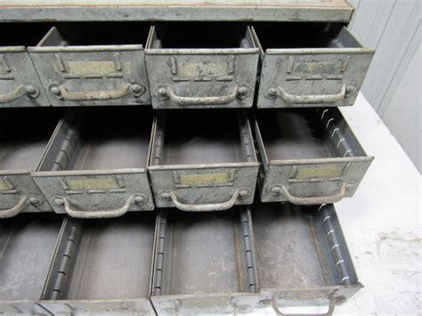 Vintage 18 Drawer Industrial Steel Small Parts Bin Storage