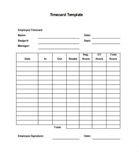 printable time card templates  excel