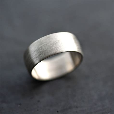 wide mens white gold wedding band recycled  palladium