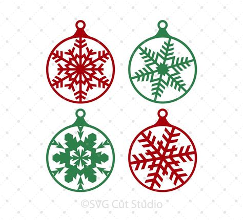 Dxf file for silhouette users.you can open this with the free software version of silhouette. Christmas Tree Snowflake Balls SVG Cut files for Cricut ...