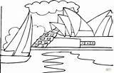 Opera Sydney Coloring Printable Pages Near Ocean Ziggurat Drawings sketch template