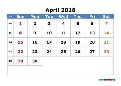 april calendar week numbers printable printable