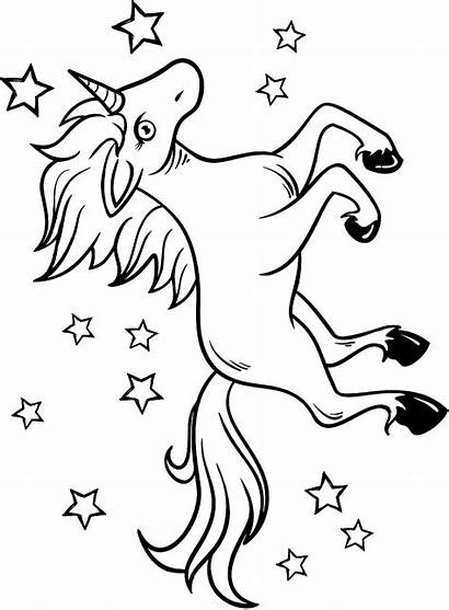 Unicorn Stars Around Coloring Printable Mythical Creatures