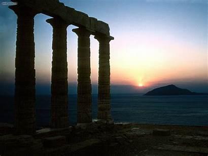 Greece Ruins Temple Greek Empire Poseidon Sounion