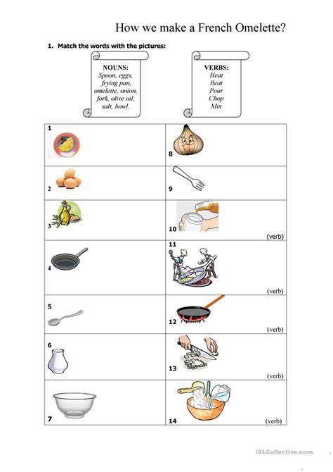 french omelette recipe worksheet  esl printable