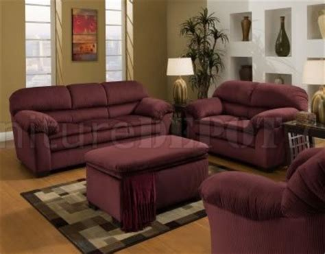 Red Wine Microfiber Sofa & Loveseat Set Woptional Chair