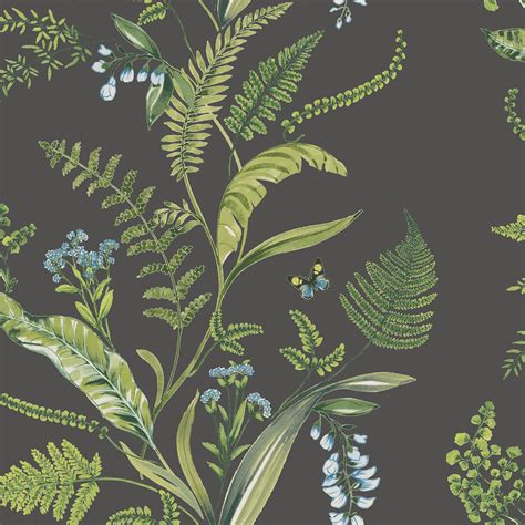 K2 Fern & Flowers Green Floral Wallpaper Departments