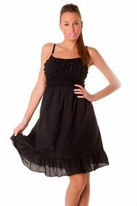 robe d39ete mi longue noire a fine bretelles vetement With robe a bretelle mi longue