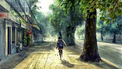 Anime Street Concept Spring Trees Sunlight Forest