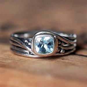 rustic engagement ring set aquamarine gemstone ring With rustic wedding rings