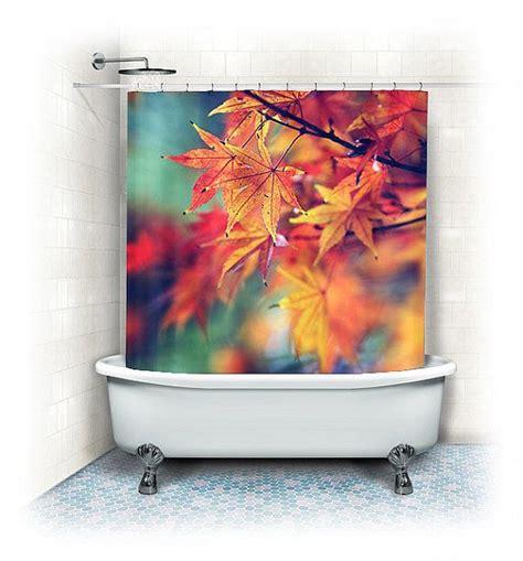 fall leaves fabric shower curtain fall leavesorange