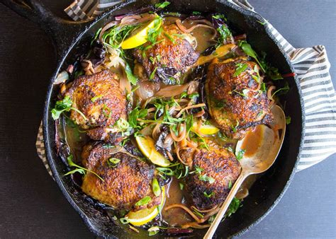 crispy curried chicken thighs  wilted greens recipe