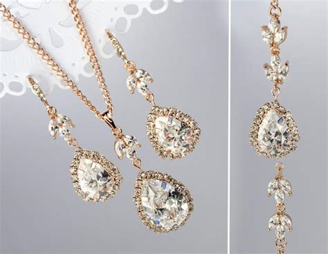 Wedding Jewelry Gold : Rose Gold Jewelry Set, Rose Gold Bridal Jewelry, Rose Gold
