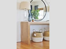 Waterfall Console Table With Round Mirror Reveal + New