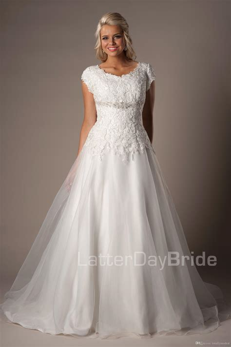 discount simple lace organza modest wedding dresses
