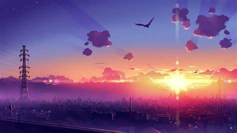 aesthetic sunset desktop anime wallpapers