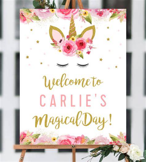 editable unicorn birthday party   sign