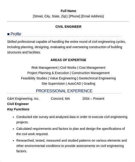 Career Objective For Fresher Civil Engineer Resume by 16 Civil Engineer Resume Templates Free Sles Psd