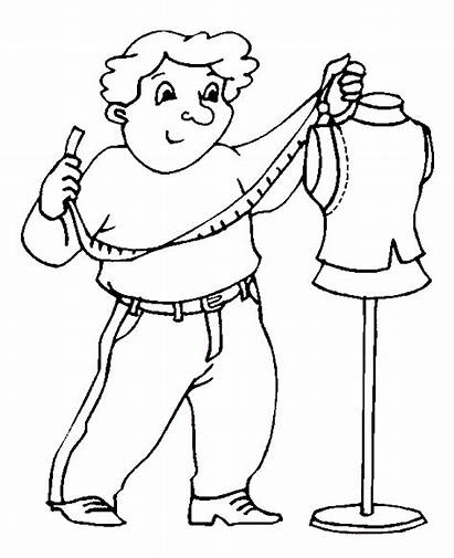 Coloring Pages Meslekler Sheets Animated Terzi Coloringpages1001