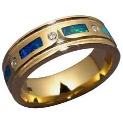 mens green wedding band mens inlay opal and band flashopal