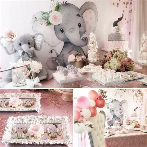 pink and gray elephant baby shower decorations pink and gray elephant baby shower baby shower ideas
