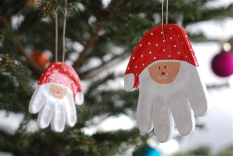minute christmas diy hand print santa ornaments