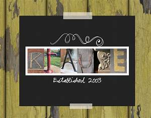 custom personalized last name letter art by With last name picture letter art