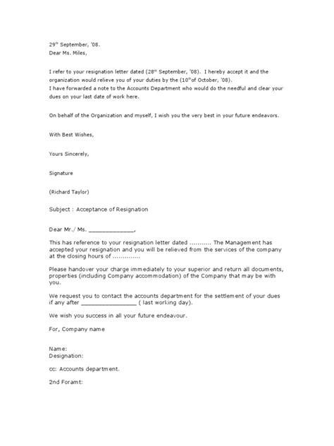 23.Resignation Acceptance Letter | Employment