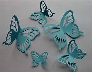 Papillon Décoration Murale : 5 papillons en papier bleu pour d coration murale en 3d d corations murales par l amaranthe ~ Teatrodelosmanantiales.com Idées de Décoration