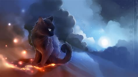 artwork cat anime glowing clouds apofiss wallpapers