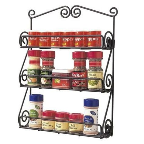Scroll Spice Rack by Spectrum Wall Mount Scroll Spice Rack Black Ebay