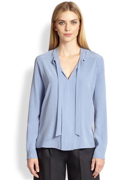 tie neck blouses max mara tie neck blouse in blue lyst