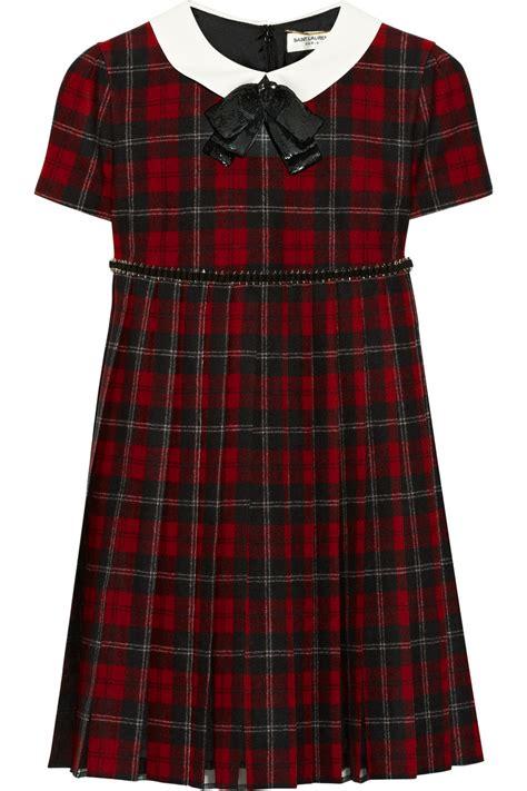 lyst saint laurent embellished plaid wool dress  red
