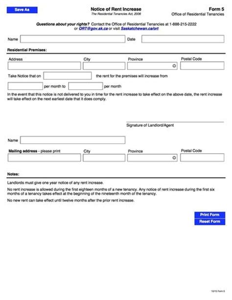 saskatchewan notice of rent increase form 5 legal forms