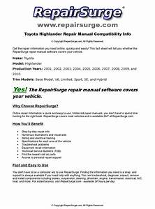 Toyota Highlander Online Repair Manual For 2001  2002