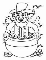 Pot Gold Leprechaun Coloring Pages Template Popular Templates Coloringhome sketch template