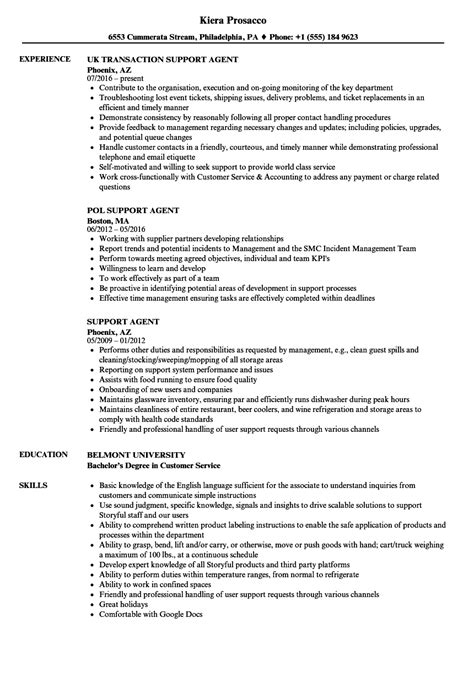 support resume agent sample samples issues user business