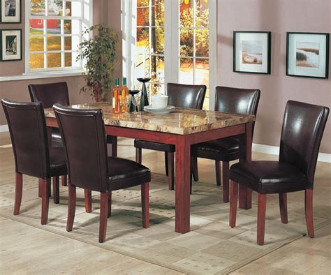 telegraph medium brown wood  marble dining table set