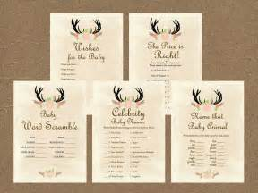 Baby Deer Baby Shower by Rustic Antlers Baby Shower Game Pack Magical Printable