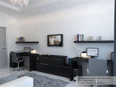 black desk twin office interior design ideas