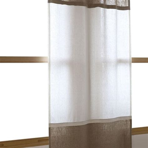 brown and white linen curtain