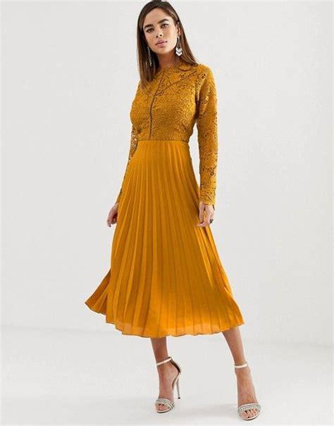Asos Design Asos Design Long Sleeve Lace Bodice Midi
