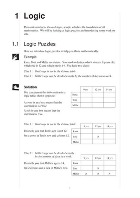 ks maths logic mep year  unit   cimt teaching